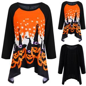 Ladies Casual Loose Irregular Blouse Plus Size Women Halloween Tunic Top T-Shirt