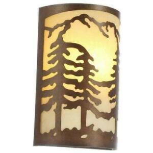 Hampton Bay Natural Antler Sconce Sunset Glass Shade 1-Light Cabin Lodge Fixture