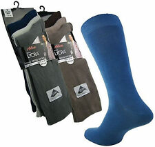 Mens Big Foot Cotton Lycra Traditional Fine Knit Socks 11-14 Assorted Colours