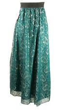 Lularoe Lucy BNWT Green Silver Lace Boho Elegant Long Skirt Size Medium