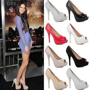 New Ladies Womens High Stiletto Platform Heel Peep Toe Sandals Court Shoes Size
