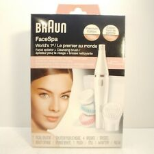 New Braun FaceSpa 851 Women's Miniature Epilator w/4 Brushes Also Removes Hair!!