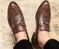 Mens Driving Shoes Casual Smart Moccasins Slip On Crocodile Pattern Loafers Sz