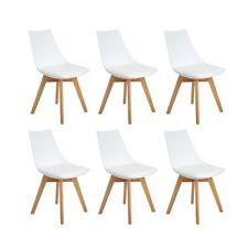 6 Retro Esszimmerstuhl Skandinavisches Design, Gepolsterte Küchenstühle Holzbein