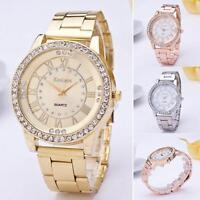 Women's Men's Stainless Steel Crystal Rhinestone Analog Quartz Wrist Watch Gift