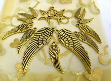 15 x Antique Gold Angel Huge Wing 50mm,30mm & 17 mm & 20mm Star Charms *