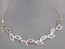 Alpaca Silver and Abalone Shell Leaf Necklace Fashion Jewelry NEW