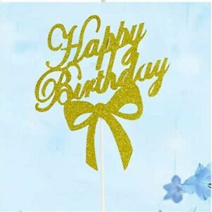 Topper Acrylic Cupcake Topper Happy Birthday Cake Topper Glitter Gold Bowknot