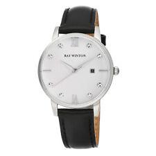Ray Winton Women's WI0106 Analog White Dial Black Genuine Leather Watch