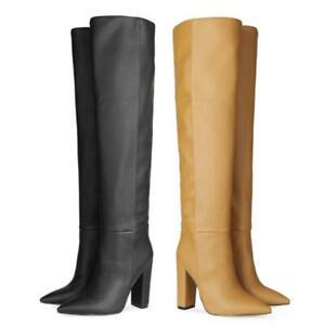 Women Western Cowboy Slouch Pattern Pointy Toe Block Heel Knee High Boots Club L