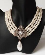 Perlen Collier Halskette Vintage Barock Strass Ornament creme klar antik gold