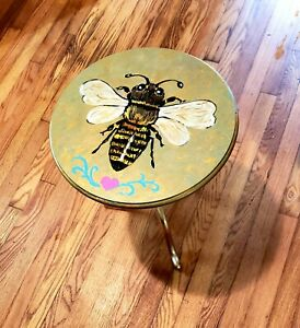 Hand Painted Round End Table Metallic Gold with BEE