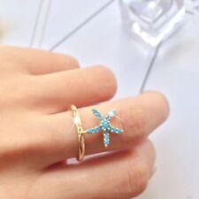 FASHION ATTITUDE 14K Yellow Gold GP blue CZ sea star open ring free size