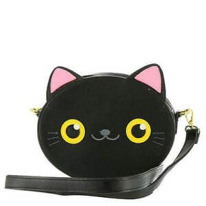 New LOUNGEFLY BLACK CAT Crossbody Bag Purse PINK EARS Kitten Faux Vegan Leather
