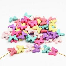 25X Butterfly Wood Beads Mix Color Spacer Baby Pacifier Clip Jewelry Making DIY