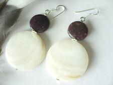 Weiße 30 mm Perlmutt Button Ohrringe Earrings m.Lepidolith & Silber Ohrhaken