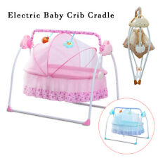 2in1 Multifuntional Electric Baby Cradle Swings Rocking Chair Bassinet+Bluetooth