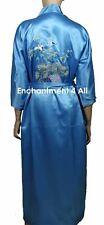 Embroidered Flying Crane Silk Satin Kimono Robe Sleepwear w/ Waist Tie Baby Blue