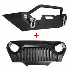 Front Bumper w/Led Lights + Gladiator Mesh Grille for Jeep Wrangler TJ 97-06