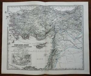 Ottoman Empire Anatolia Syria Cyprus Smyrna Armenia 1874 Petermann detailed map