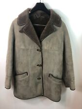 Shearling Suede Leather Vintage Sheepskin Jacket Coat Brown 36R
