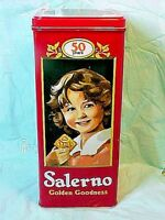 SALERNO COOKIES - CRACKERS TIN GOLDEN GOODNESS 50 YEARS PROMO TIN NICE CONDITION