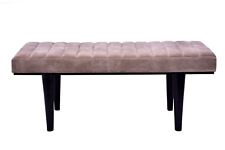 New Wooden Bench Hair On Leather Seat For Home And Office Decoration