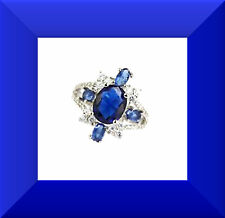 New Tanzanite & White CZ 925 Silver Cocktail Ring Size 6.5 FREE SHIPPING # 259