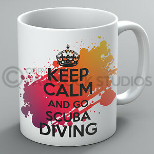 Keep Calm And Go Scuba Diving Mug Diver Divers Dive Swimming Present Cup Gift
