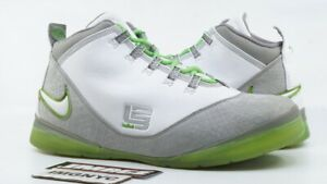 NIKE ZOOM SOLDIER II USED SIZE 11.5  DUNKMAN MEDIUM GREY WHITE GREEN 318694 012