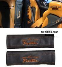 """2x Cintura Copre PADS IN PELLE """"ROADSTER"""" TAN ricamo per Mazda"""