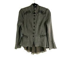 Free People Victorian Lace Overlay Jacket Military Peplum Steampunk We The Free