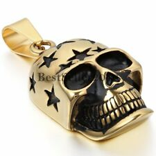 """Goth Punk Mens Gold Skull Pendant Stainless Steel Necklace with 22"""" Silver Chain"""
