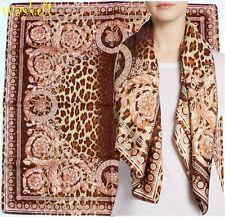 "VERSACE beige Wild Baroque CROWNS brown LEO Spots 35""-square Silk scarf NWT Auth"