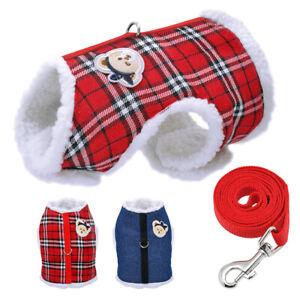 Soft Fleece Small Dog Warm Harness Vest jacket Puppy Winter Jacket Clothes&Lead