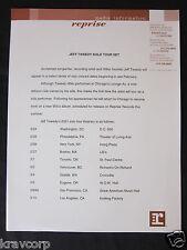 Jeff Tweedy—2001 Press Release—'Solo Tour'-Wilco