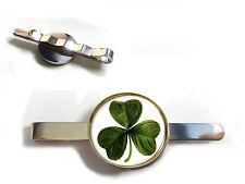IRELAND IRISH CLOVER LEAF SHAMROCK BADGE TIE SLIDE TIE GRIP TIE PIN