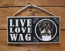 """Rottweiler Sign Live Love Wag Dog Wood Plaque 5""""x10""""  Made In USA"""