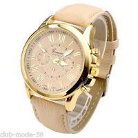 Superb Quartz Watch Geneve for Women Bracelet Light Brown New Promo