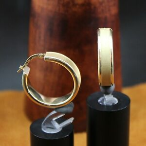 """MILOR Italy """"Frosted Center"""" Wide Hoop Earrings 18k Yellow Gold 1 1/16"""" Length"""