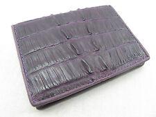 Genuine Crocodile Caiman Leather Skin Card Holder Wallet Violet Purple Free Ship