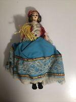 """Vintage Gypsy Fortune Teller Souvenir Turkish Ethnic Folk Art Doll  10""""  Lace"""