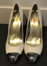 White Leather Heels with Metal Toe Cap Peeptoe Miss Symphony  Size 38