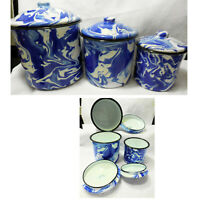 NEW Enamelware Splatter Ware Swirl Cobalt Blue & White Set of 3 Canisters
