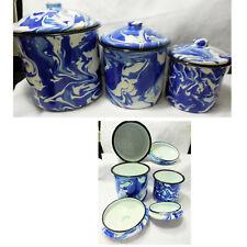 NEW Enamelware Splatter Ware Swirl Cobalt Blue & White Set of 3 Canisters