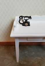 Dollhouse Miniature Telephone Old Fashioned Victorian Black & Gold 1:12 Scale