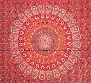 Peacock mandala wall hanging bohemian bedspread indian red queen cotton tapestry