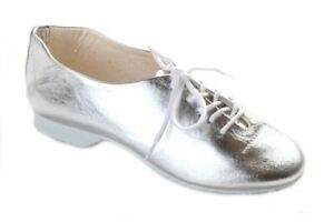 NEW FREED SILVER LEATHER FULL RUBBER SOLE JAZZ DANCE SHOES ADULT 6.5-8.5 BNIP