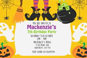 Personalised Halloween Mummy Birthday Party Invites Including Envelopes HW77