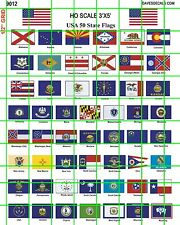 """9012 DAVE'S DECALS 1:87 HO SCALE US STATE FLAGS AMERICAN FLAG 3'X5"""" SCALE SIZE"""